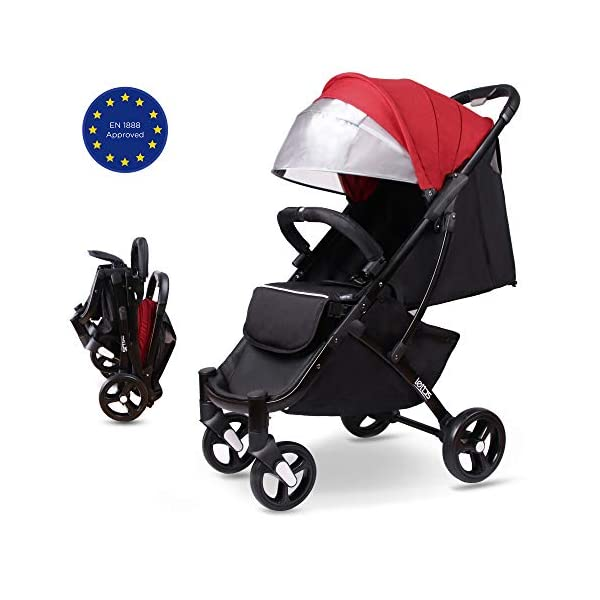LETTAS Compact Fold Stroller Travel Lightweight Pram Buggy Pushchair Easy for Plane with Five-Point Harness Adjustable Backrest Oversize Hood. LETTAS ★ Fit kids 6 months up to 15kgs. Lightweight aluminum alloy frame design (weighs 5.9kg/13 pounds).Can be fold into a very small size. Easy for traveling and car trips. Convenient one-hand and self-standing fold are smooth when use for pack up and go. Passed the strictest EU safety standards: EN1888:2018 ★ Large extended foldable canopy for maximum sun coverage. A week-a-boo window, you can easily keep a watchful eye on your baby. Stay connected with your baby and no more worry while ensuring ventilation. Enlarge and easy to access storage basket holds all baby's necessities. Detachable cloth covers for easy cleaning. ★ Powder coating crafts. High quality material without pollutant. Handle is made of luxurious PU-leather. Small, light and practical. 5-point safety restraint system protects your child as your child grows. Armrest can be opened quickly in the middle. Detachable armrest offers safety guard and also allows baby easily in and out. 1
