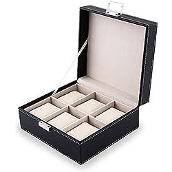 Amzdeal Deluxe 6-watch Storage Box Black Best Gift