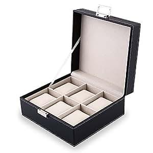 amzdeal coffret montre en cuir bo te rangement pour montres avec serrure et oreillers moelleux 6. Black Bedroom Furniture Sets. Home Design Ideas