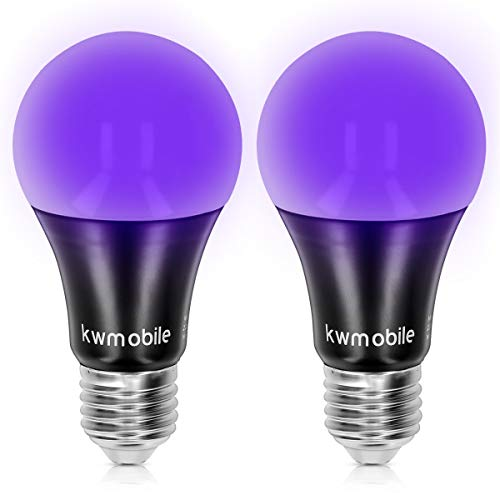 Kwmobile Set 2 Bombillas LED E27 luz negra - Bombilla