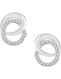 VK Jewels Circuler Rhodium Plated Alloy CZ American Diamond Stud Earrings For Women [VKER1770R]