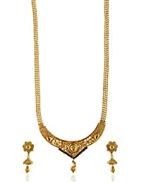 Reeti Fashions - Intricately Carved Gold Stone Studded Necklace Set With Beaded Chain (RF17_10B_92)