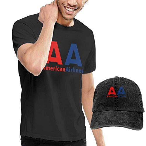 SOTTK Kurzarmshirt Herren, t-Shirts, Tee's, American Airlines Logo Men's Cotton T-Shirt with Round Collar with Adjustable Baseball Cap -