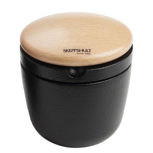 SKEPPSHULT 0071 Swing Kräuter und Pfeffermühle aus Gusseisen mit Deckel aus schwedischem Buchenholz