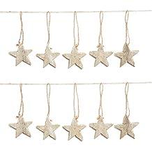 estrellas de madera natural marrn shabby chic vintage navidad de colgante de joyas sin