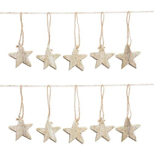 10stelle legno naturale marrone shabby chic vintage decorazioni del pendente gioielli (stelle, senza filo, 7cm) come un albero di natale o decorazione a natale
