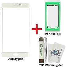 iTG® PREMIUM Juego de reparación de cristal de pantalla para Samsung Galaxy Note EDGE Blanco (Frost White) - Panel táctil frontal oleofóbico para SM-N915FY + 3M Adhesivo precortado y iTG® Juego de herramientas
