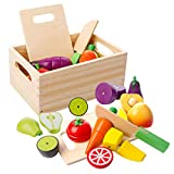 mysunny Frutta e Verdura Giocattolo, Cucina Magnetico Legno per Bambini Giocattoli, Cucina di Simulazione di educativi e percezione del Colore Giocattolo per Bambini in età prescolare Ragazzi Ragazze