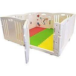 All Stars Parc bébé 8 pièces XXL avec panneaux d'activité tapis de sol et balles colorées Fabriqué avec matériaux non toxiques