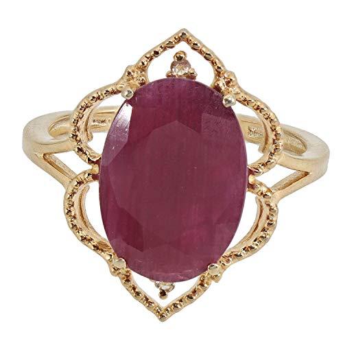 Jaipur Bague pour Femme en Argent Sterling 925 plaqué Or avec Rubis et Diamants