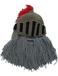 03f385ae757557 Hats Men Women Winter Funny Creative Roman Knight Hat Handmade Knitted Big  Beard Wig Helmet Chunky