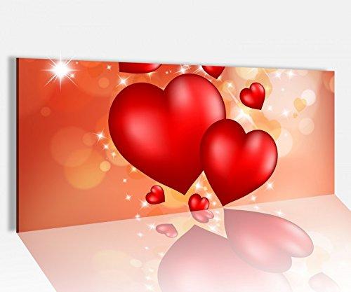 Acrylglasbild 100x40cm Love Herzen Liebe rot Paar Herz abstrakt Schlafzimmer Acrylbild Acryl Druck Acrylglas Acrylglasbilder 14A8700, Acrylglas Größe1:100cmx40cm