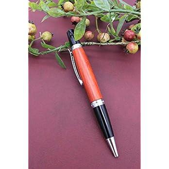 Edler Handgedrechselter Dreh Kugelschreiber aus Holz Padouk Absolutes Unikat