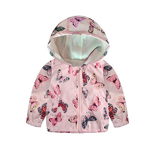 Bellelove☺Kleine Kleider, Lange Ärmel Blumen Schmetterling Drucken Kapuzenoberbekleidung Windjacke Mantel mit Taschen