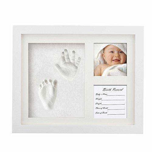 ZSTmei Baby Handabdruck und Fußabdruck Bilderrahmen Baby Hand Foot Print mit 2 Teiliger Rahmen für Foto Babyandenken Baby Andenken