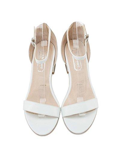 XY&GKMétallique élégant élégant avec un grossier Buckle Sandales femme Talon orteil d'été sandales pour femmes, confortable et belle 36 white