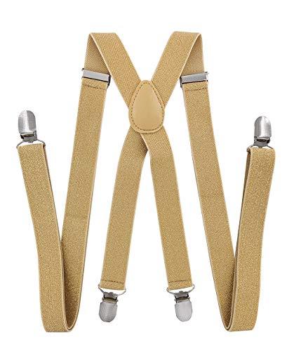 axy Herren Hosenträger breit 2,5 cm mit 4 Starken Clips X-Form und Damen (Gold (mit Glitzerfäden))