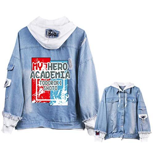 Cosstars My Hero Academia Anime Chaquetas de Mezclilla Denim Jacket Adulto Cosplay Jeans Hoodie Sudaderas Cárdigan 4 M
