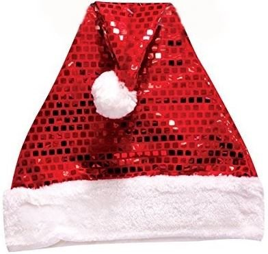 Deluxe Sequin Santa Hat Outfit Accessory Christmas Nativity Fancy Dress Cap Party Costum Festive Adults