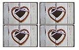 OOTB 4er Tischset: süßes Herzen Design - Leichte Tisch Matten/Platzdeckchen / Tischunterlage/Essunterlage/ Platzset aus Kunststoff abwaschbar / 42 x 28 cm H02