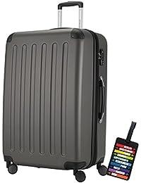 Hauptstadtkoffer® Valigia (128 litri) con un lucchetto TSA Seria SPREE (Colore Grafite con 1 ciondolo per la valigia)