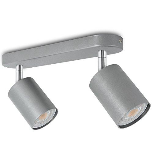 LED Deckenstrahler 2-flammig schwenkbar Silber matt - Spotreihe 2er - Aufbauleuchte inkl. 2 x...