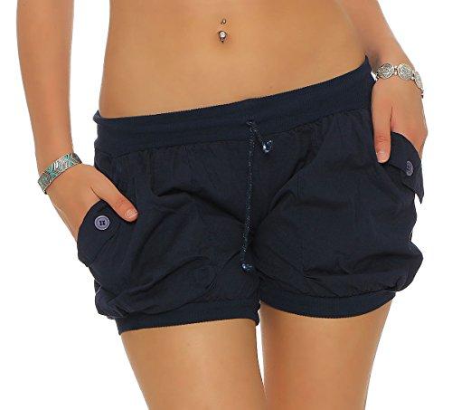 malito Damen Shorts in Unifarben   lässige kurze Hose   Bermuda für den Strand   Pants - Hotpants 6087 (dunkelblau, XL)