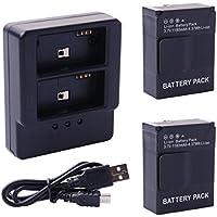 2pcs Batterie AHDBT-302/201/301 + Dual 2 Batterie Caricatore Caricabatteria/Battery Charger + Mini USB Cavo di ricarica/Charging Cable Per Fotocamera Videocamera Gopro hero3/3+ BC319