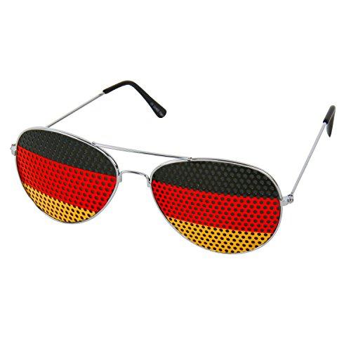 Partybrille/Sonnenbrille aus Metall Fussball-Fanartikel für Kopf und Körper Deutschland schwarz-rot-gold (Partybrille/Sonnenbrille)