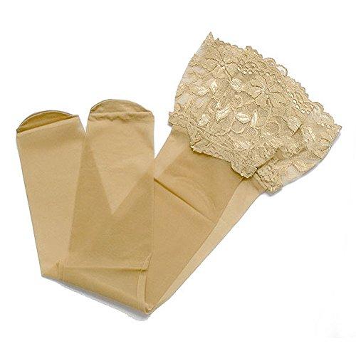 SODIAL(R) Color carne Coppia di calze sexy di design merletto alla moda sexy per le donne