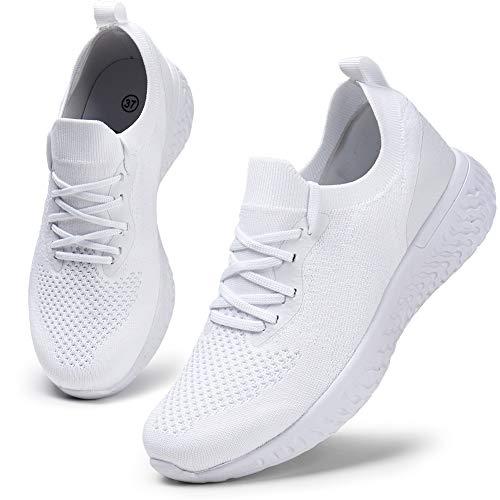 HKR Damen Sportschuhe Atmungsaktiv Gym Turnschuhe Leichtgewicht Laufschuhe Lace Up Freizeitschuhe Trainer Outdoor Sneaker für Damen Weiß 41 EU