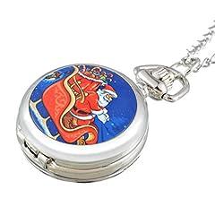 Idea Regalo - Souarts, orologio tascabile al quarzo, modello analogico, colore argento, con Babbo Natale, 84cm