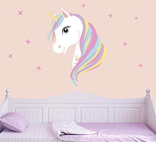 Colourful Unicorn & Stars Full Colour Wall Sticker - Children's Bedroom Nursery Decal Transfer - MEDIUM - 50cm x 35cm - SELECT SIZE FROM MENU BELOW
