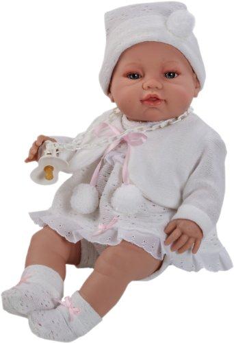 Berbesa - Muñeco bebé recién Nacido con Vestido Blanco, 42 cm (5102)