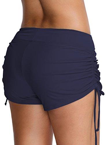 Bettydom Damen Shorts Sommer Strand Kurze Schwimm Sport Bikini Hose Beach Shorts Hotpants Mehrfarbig Umstand Badehose Badeshorts Blau