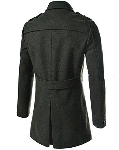Fanessy Herren Coat Zweireiher & Slim Fit Winter-Mantel Grün