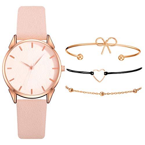 Armband Damen Uhr Set Anhänger Analog Quarzuhr mit PU Leder Schmuck Geschenk Set (F)