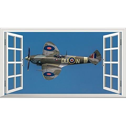 Seconda Guerra Mondiale Spitfire 3d V002Magic finestra adesivo da parete adesivo da parete poster art, 1000mm larghezza x 600mm profonda (grande)