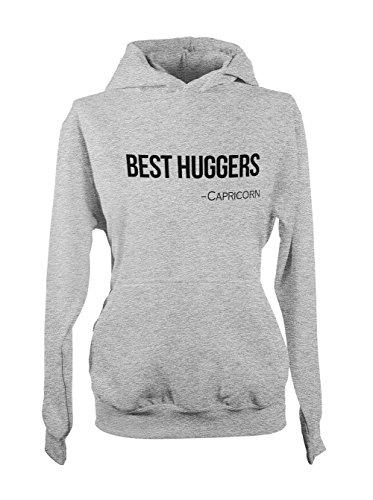 Best Huggers - Capricorn Zodiac Sign Zitat Damen Kapuzenpullover Hoodie Sweatshirt Grau X-Large -