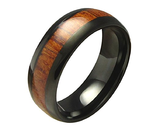 Kikuchi Männer Fingerring Herren Wolfram Ring Herrenring Holzring Schwarz Nr.65 RI15116