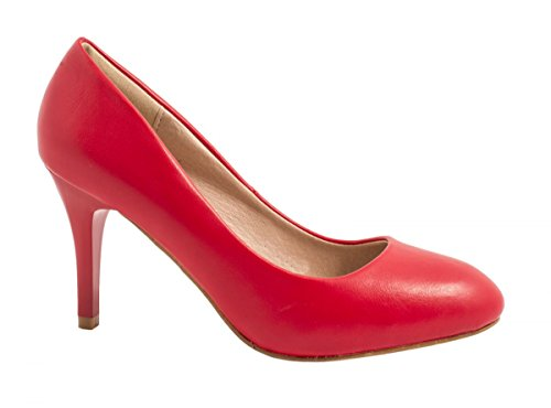Elara Damen Pumps | Stiletto High Heels | Lederoptik Abendschuh Rot