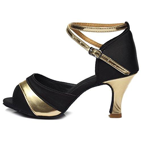 HROYL Damen Tanzschuhe/Latin Dance Schuhe Satin Ballsaal Modell-D7-806 Gold 36 EU