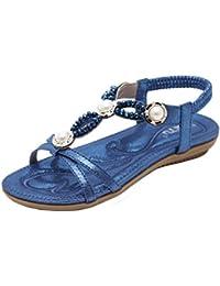 MEIbax CLEARANCE SALE Frauen flache Schuhe Bohemia Lady Girls Strass Perlen Sandalen Outdoor-Schuhe Flachen Sandalen...