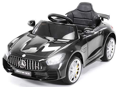 Actionbikes Motors Kinder Elektroauto Mercedes Amg GT-R - lizenziert - 2 x 25 Watt Motor - Ledersitz - Eva Reifen - Softstart - Kinderauto (Schwarz)