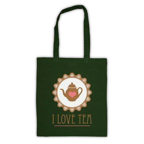 "Scritta in inglese ""I Love Tea-Borsa Verde scuro"