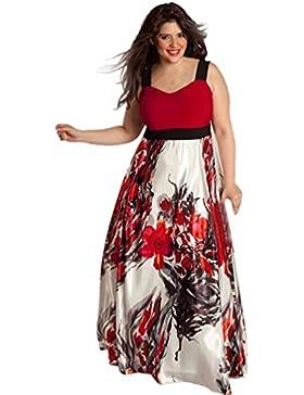 Ouneed Las mujeres de flores impresas más tamaño largo fiesta de Gala Vestido de gala