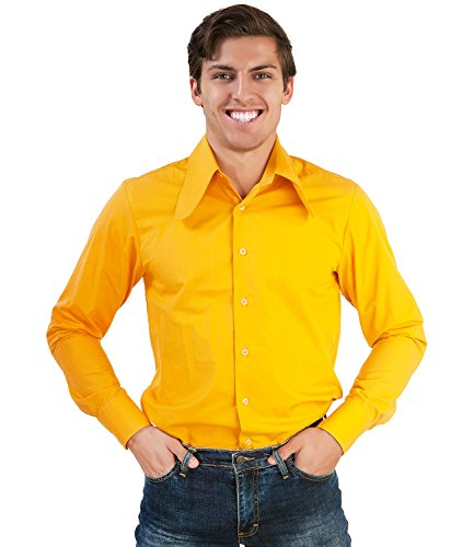 70er Jahre Hemd Gelb Dackelohr Kragen Gelb