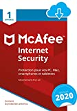 McAfee 2020 Internet Security | 1 Appareil | 1 An | PC/Mac/Android/Smartphones | Download Code...