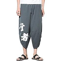 Zhuhaitf Pantalones para hombre algodón harén pantalones hippie boho pantalones Mens Harem Baggy Pants Trousers cintura elástica, con bolsillos