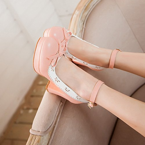 YE Damen Knöchelriemchen Pumps Blockabsatz High Heels Plateau mit Schleife und Schnalle 7cm Absatz Elegant Schuhe Rosa